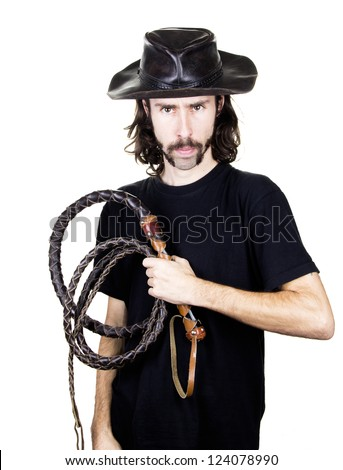 a men with whip and hat