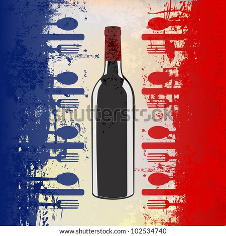 A menu template with a wine bottle over a grunged french flag - stock photo