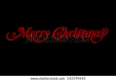 A Merry Christmas greeting in red, Christmassy calligraphic text on a black background
