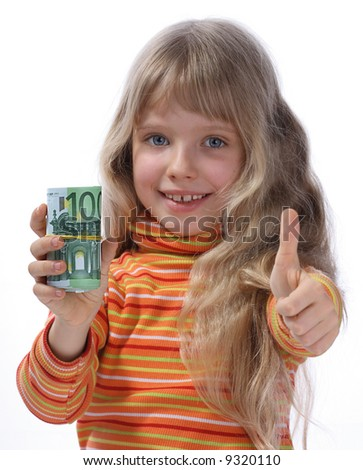 A merry girl holds a money. - stock photo
