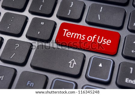 a message on keyboard, for terms of use concepts.