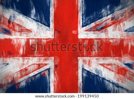 A messy painting of the flag of United Kingdom - stock photo