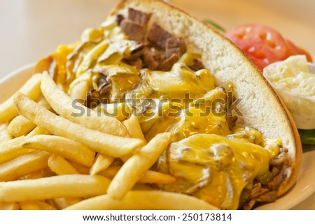 A messy Philly Cheesesteak with onions and peppers with fries on the side - stock photo