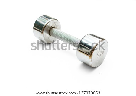 a metal dumbbell (isolated)