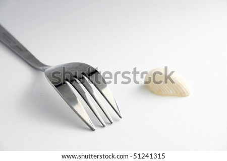 A metal fork and a small shell.