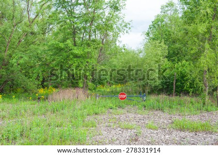 A metal gate with a stop sign blocks the way into a beautiful wooded land with green trees and wild yellow flowers - stock photo