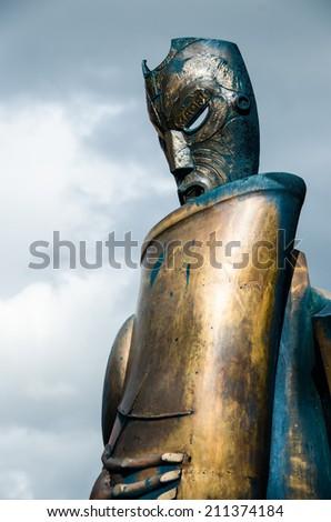 A metal maori statue, New Zealand - stock photo