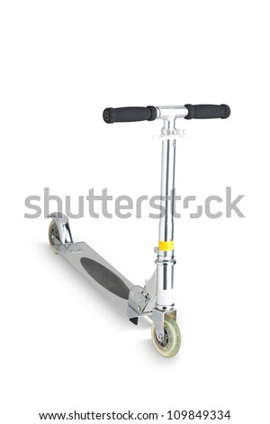 A metal scooter for child on white background - stock photo