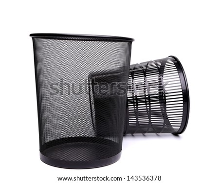 A metal trash can and a top plastic trash can on a white background.