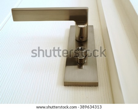 A metallic knob on white door