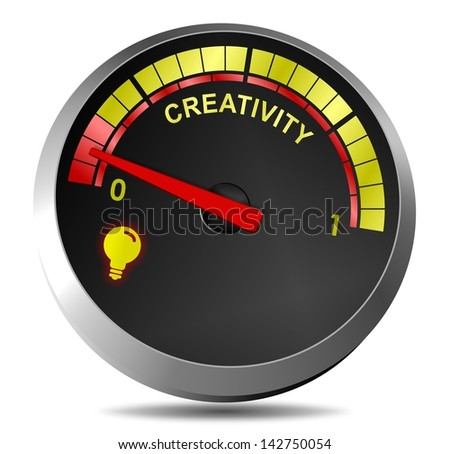 A metaphor showing creativity gauge running on empty / Creativity on empty