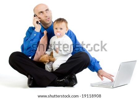 A metaphorical image of a man with his baby girl, juggling in the roles of being a businessman and a father.