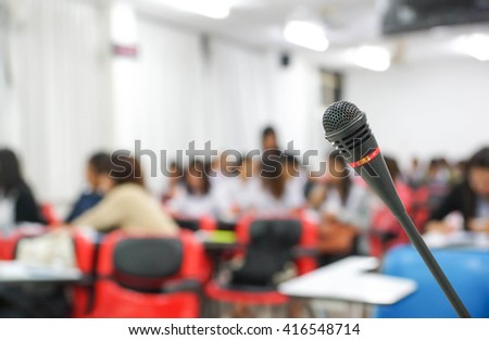 A microphone in empty classroom