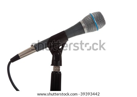 A microphone on a mic stand on a white background