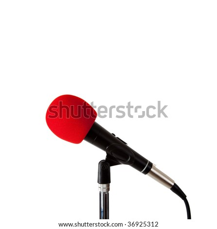 A microphone with red foam windscreen on a white background with copy space