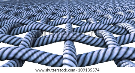 A microscopic close up of a simple blue woven fabric pattern and threads - stock photo