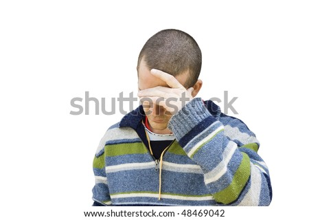 A middle aged man  holds his head down and covers his eyes.  It could be shame, sadness, bad news or depression.