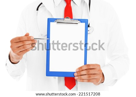 A midsection of a doctor holding documents over white background - stock photo