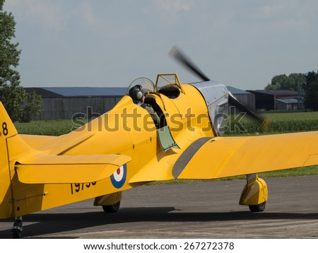 A Miles Magister 1930s monoplane pilot training aircraft at Breighton airfield,yorkshire,UK.taken 14/07/2013 - stock photo