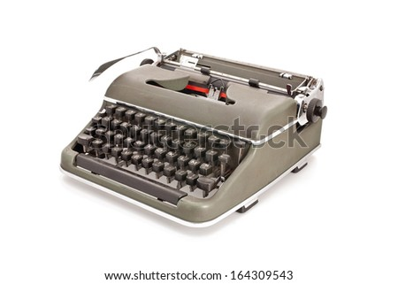 A military green old mechanical typewriter on a white backround