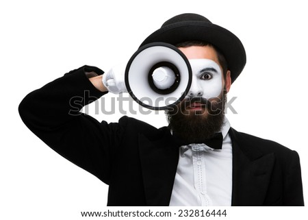 A mime as business man with a megaphone  isolated on a white background