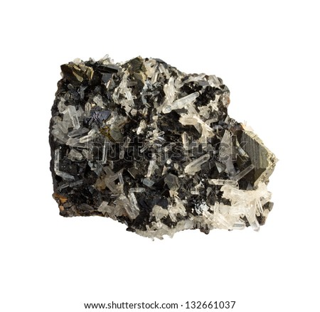 A mineral sphalerite on a white background