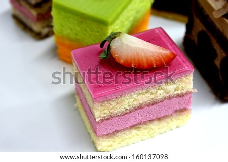 a Mini cake delicious and beautiful on plate - stock photo