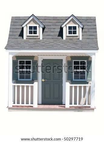 A miniature house, isolated on white, which would be good for real estate, home ownership, downsizing concept - stock photo