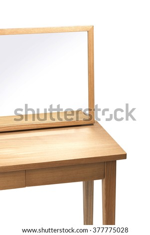 A minimal(modern, simple) empty(blank, vacant, hollow) wood dressing table(vanity) with mirror isolated white at the studio. - stock photo