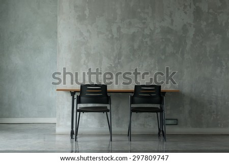 A Minimal Office In Concrete Finishing Room.