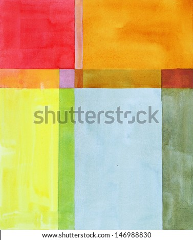 a minimalist abstract watercolour painting - stock photo