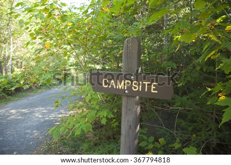 A Minnesota Department of Natural Resources campsite sign near a lake in northern Minnesota - stock photo