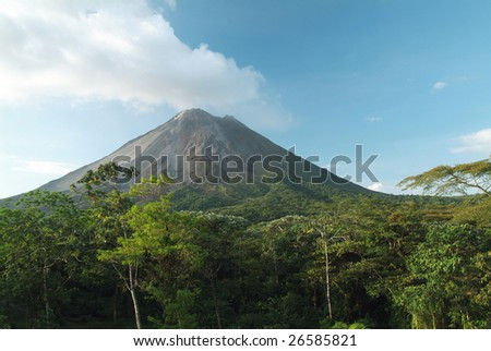 A minor eruption of smoke and ash from Arenal volcano in costa rica. - stock photo