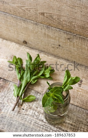 A mint on the wooden table background