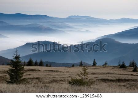A misty landscape in Carpathian Mountains - stock photo