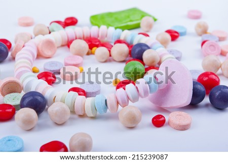 A mix of colorful artificially flavored candies