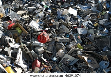 A mix of computer parts and junk for metal and plastic recycling - stock photo