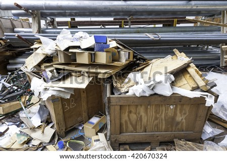A mix of industrial garbage and scrap of metal , wooden, plastic - stock photo