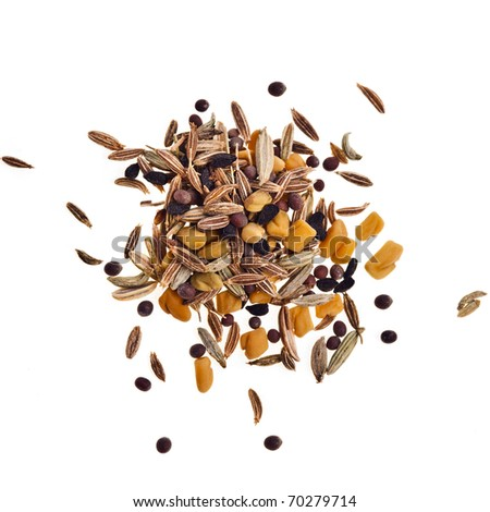 a mixture of Indian spices heap surface close up isolated on white background - stock photo