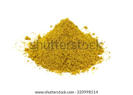 a mixture of spices and seasonings for meat on a white background
