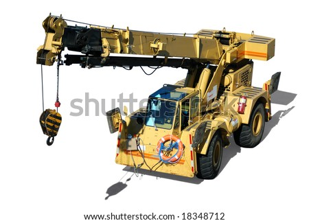 A mobile crane isolated in white - stock photo