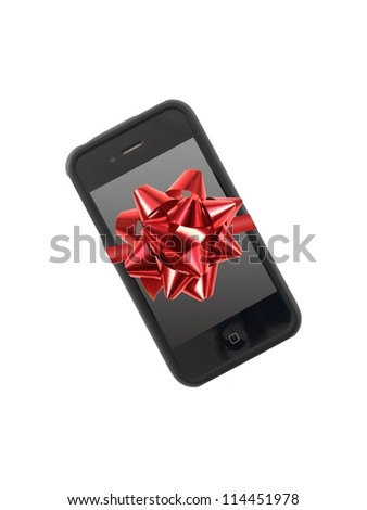 A mobile phone isolated against a white background - stock photo