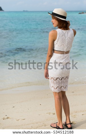 A model asian girl at the beach