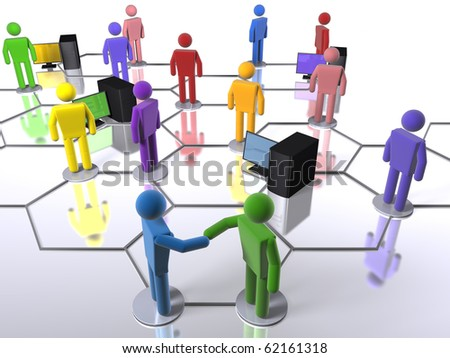 A model of a business network with an emphasis on diversity - stock photo