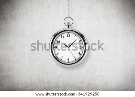 A model of pocket watch which is hanging on the chain. A concept of a value of time in business. Concrete background. 3D rendering. - stock photo
