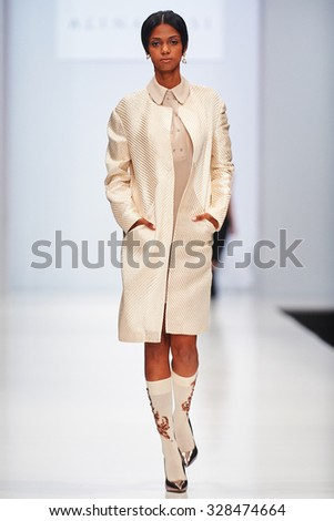 A model walks on the ALINA ASSI catwalk. Spring/Summer 2016. FASHION WEEK in MOSCOW. 17 October 2015, Moscow, Russia.