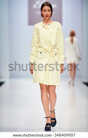 A model walks on the ELEMA BY AIPLATOV catwalk. Spring/Summer 2016. FASHION WEEK in MOSCOW. 15 October 2015, Moscow, Russia.