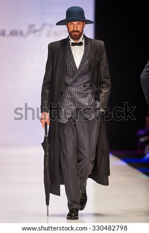 A model walks on the SLAVA ZAITSEV and YEZ BY YEGORZAITSEV catwalk. Spring/Summer 2016. MERCEDES-BENZ FASHION WEEK RUSSIA. 21 October 2015, Moscow, Russia.