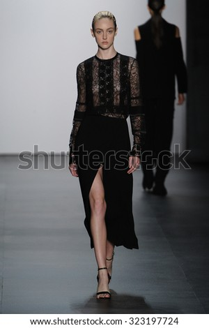 A model walks the runway at the Yigal Azrouël fashion show during Spring 2016 New York Fashion Week: The Shows at The Dock, Skylight at Moynihan Station on September 11, 2015 in New York City. - stock photo