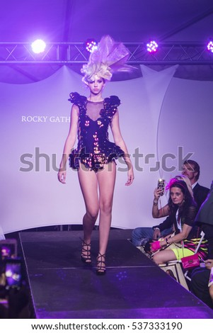 A model walks the runway for Rocky Gathercole during Art Hearts and Fashion Art Basel 2016 edition organised by Planet Fashion TV at Spectrum Miami in Miami, Florida on November 30th, 2016
